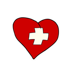switzerland heart patriotic symbol vector image