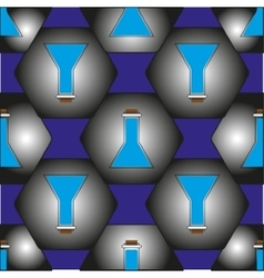 The pattern of flasks in hexagons which represent vector