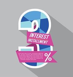 Three Percent Interest Installment vector