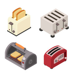Toaster icons set isometric style vector