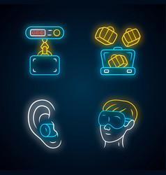 Travel accessories neon light icons set digital vector