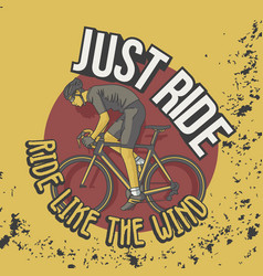 trendy vintage t shirt ride like wind slogan vector image
