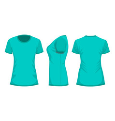 turquoise womans t-shirt template in front back vector image
