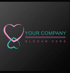 Two hearts 3d logo design vector