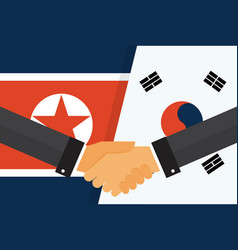 two politicians handshake in front of an south and vector image
