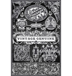 Vintage Retro Labels on Blackboard vector image