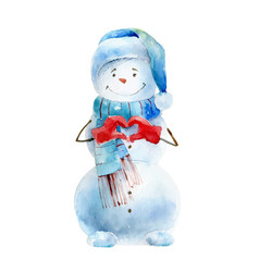 watercolor snowman on white background vector image
