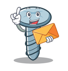 with envelope screw character cartoon style vector image