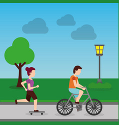 woman in skateboard and man riding bicycle in the vector image