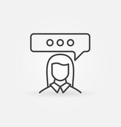 woman with speech bubble line icon vector image