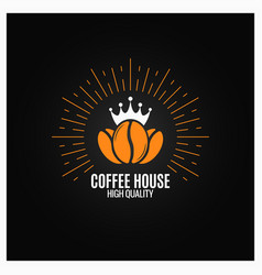 coffee beans logo on black background vector image vector image
