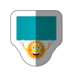 Color sticker happy sun with blue board in the vector