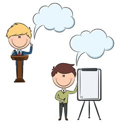 Cute and funny businessmen at a conference vector image