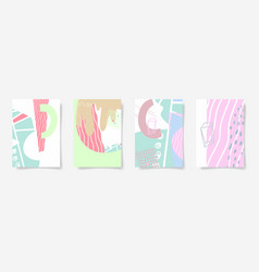set of four hand drawing abstract design vector image