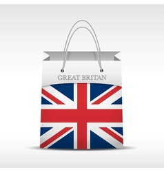Shopping bag with British flag vector image