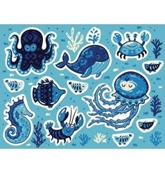 Sticker set of ocean animals in cartoon style vector image vector image