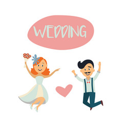 wedding card with funny couple bride and groom vector image