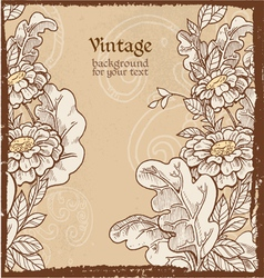 Grunge background with wild meadow flowers vector image vector image