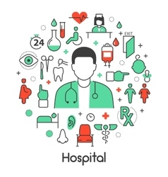 Hospital Medical Thin Line Icons Set with Doctor vector image vector image