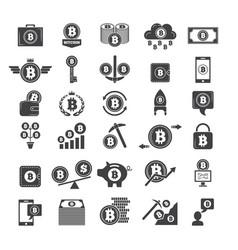 monochrome symbols of virtual money electronic vector image