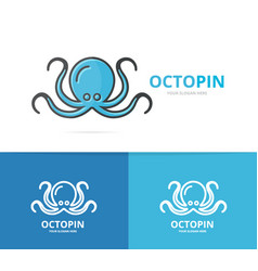 octopus logo unique marine and seafood vector image vector image