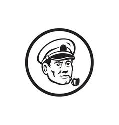Sea Captain Smoke Pipe Circle Retro vector image