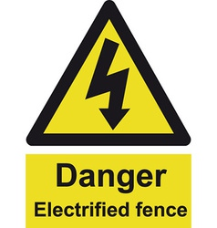 Danger Electrified Fence Safety Sign vector image vector image