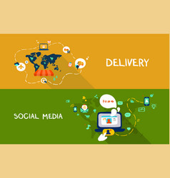delivery and social media vector image