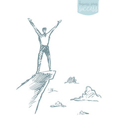 drawn success climber man mountain sketch vector image vector image