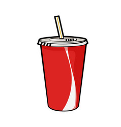 Isolated of disposable red soda cup vector