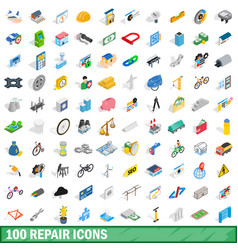100 repair icons set isometric 3d style vector image