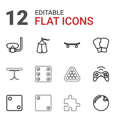 12 leisure icons vector