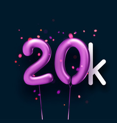 20k sign violet balloons with threads on black vector