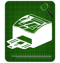 3d model of printer on a green vector image