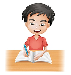 A smiling boy writing vector