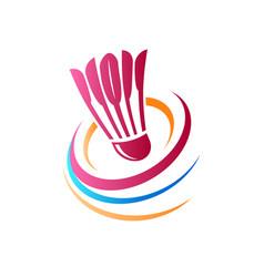 Abstract badminton logo vector