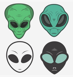 Alien face icon set humanoid head vector
