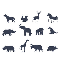 Animal icons silhouettes vector