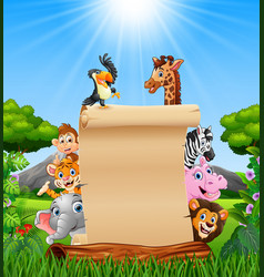 Animals with paper blank sign in savannah vector