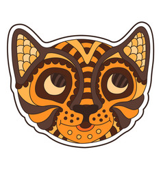 beautiful funny cartoon sticker with smiling tiger vector image