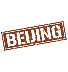 beijing brown square stamp vector image