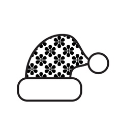 Black And White Christmas Hat Icon vector