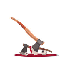 bloody executioner ax isolated cartoon icon vector image