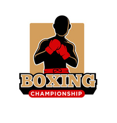 Boxing championship icon template of boxer vector