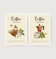 bundle flyer poster or card template with cup vector image