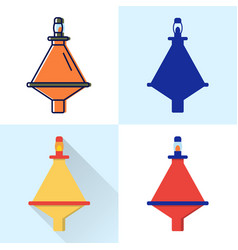 buoy icon set in flat and line styles vector image
