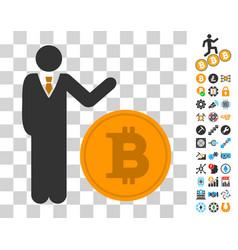 Businessman show bitcoin coin icon with bonus vector