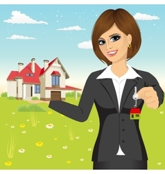 Businesswoman holding a model house vector