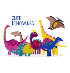 cartoon dinosaurs collection vector image