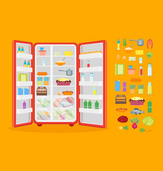 cartoon opened refrigerator full of food and vector image